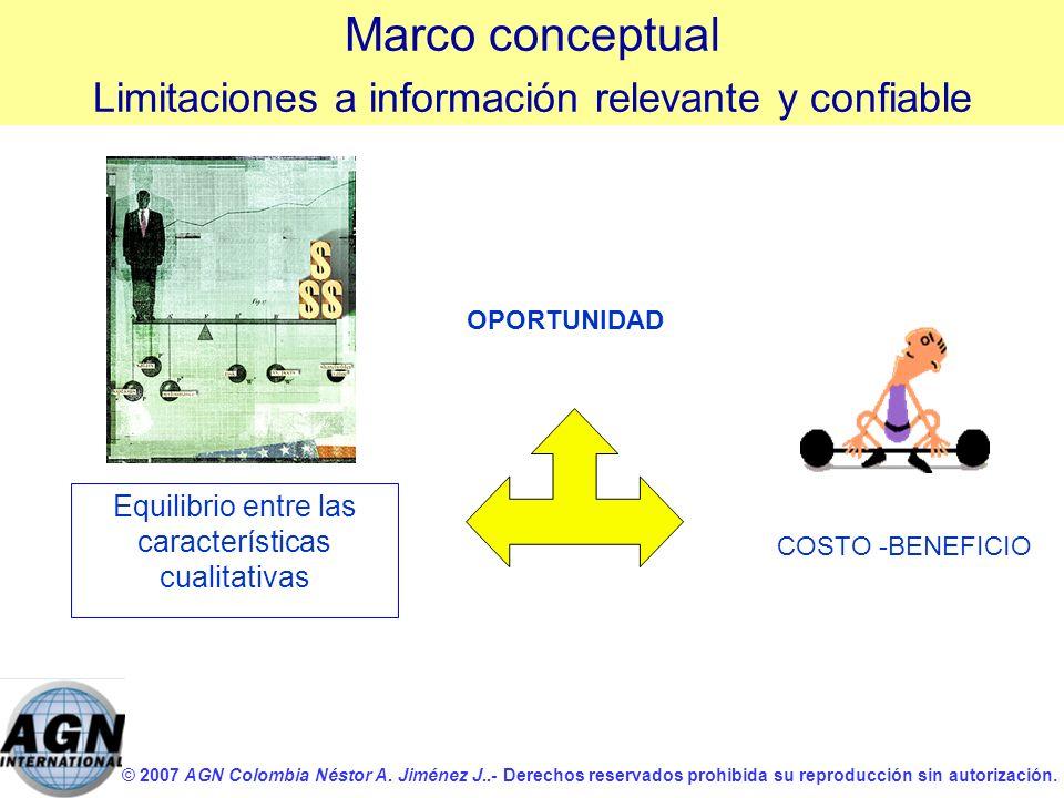 Marco conceptual Limitaciones a información relevante y confiable