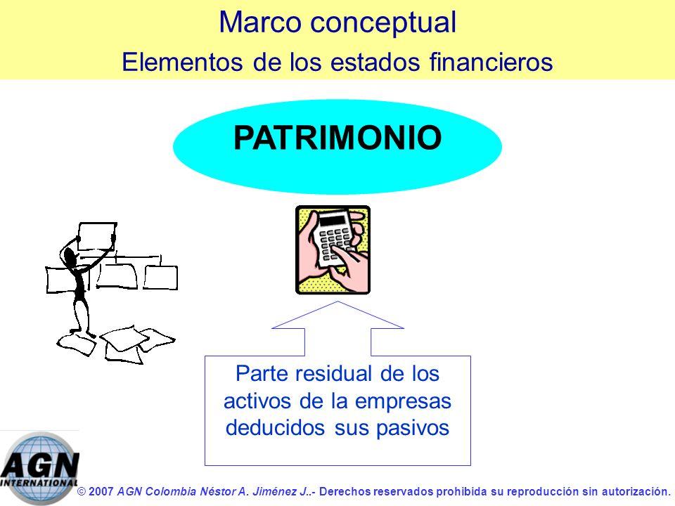PATRIMONIO Marco conceptual Elementos de los estados financieros