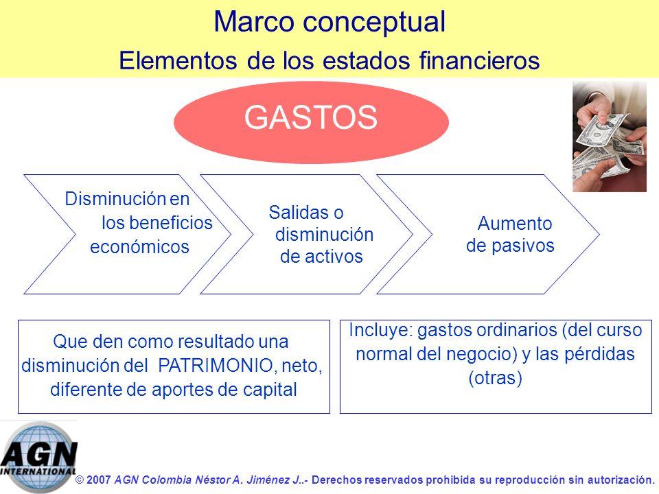 GASTOS Marco conceptual Elementos de los estados financieros