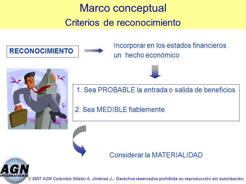 Marco conceptual Criterios de reconocimiento