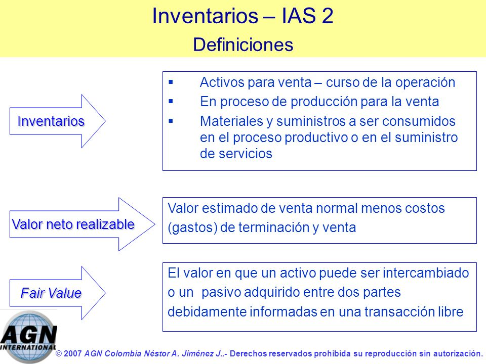 Inventarios – IAS 2 Definiciones