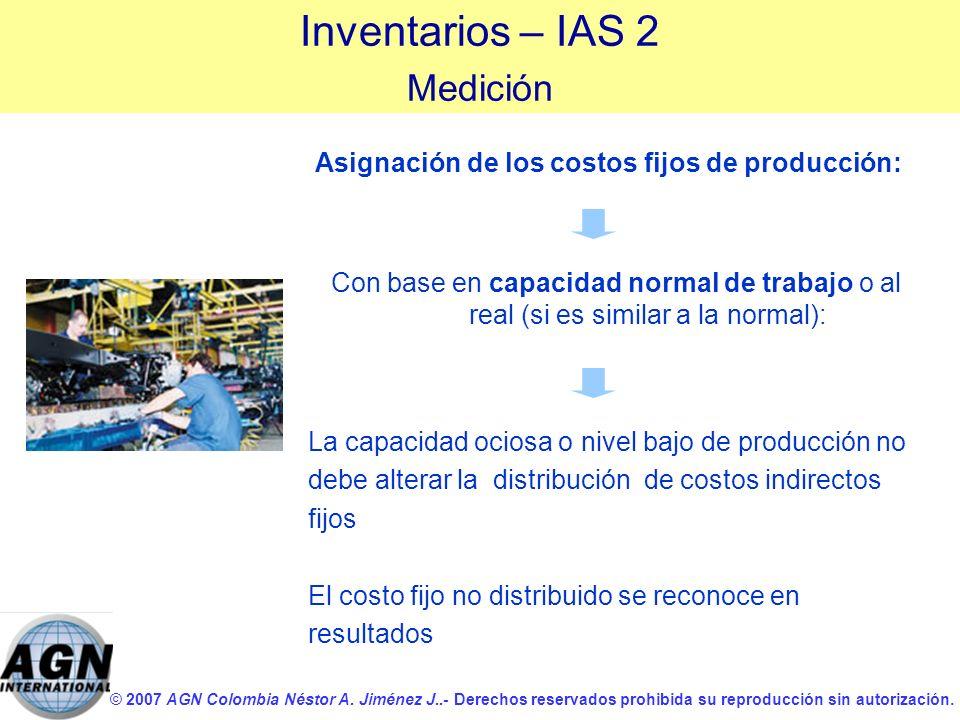 Asignación de los costos fijos de producción: