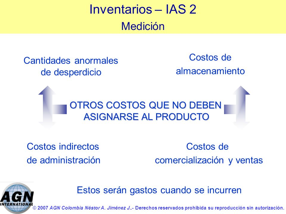 Inventarios – IAS 2 Medición Costos de almacenamiento