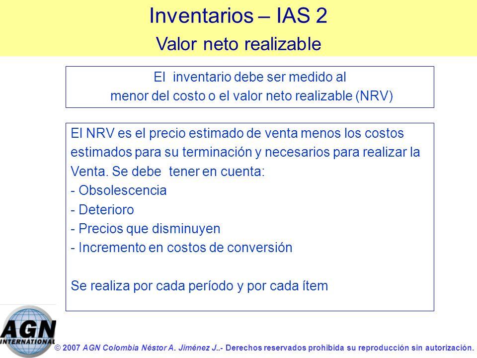 Inventarios – IAS 2 Valor neto realizable