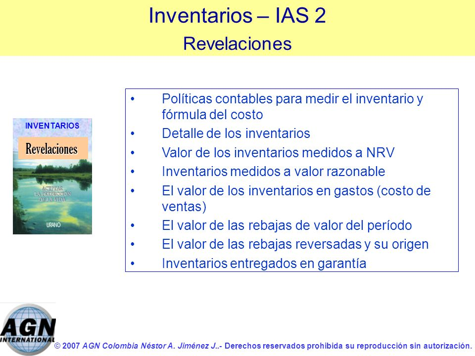 Inventarios – IAS 2 Revelaciones Revelaciones