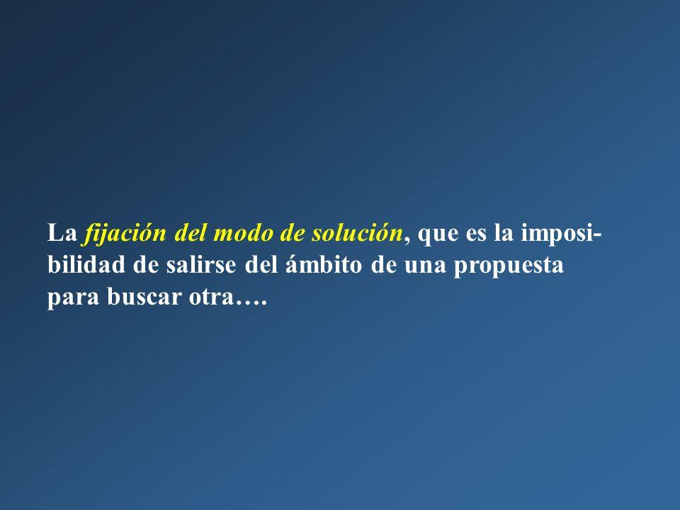 La fijación del modo de solución, que es la imposi-bilidad de salirse del ámbito de una propuesta para buscar otra….