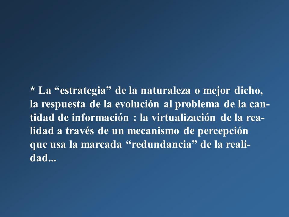 * La estrategia de la naturaleza o mejor dicho, la respuesta de la evolución al problema de la can-tidad de información : la virtualización de la rea-lidad a través de un mecanismo de percepción
