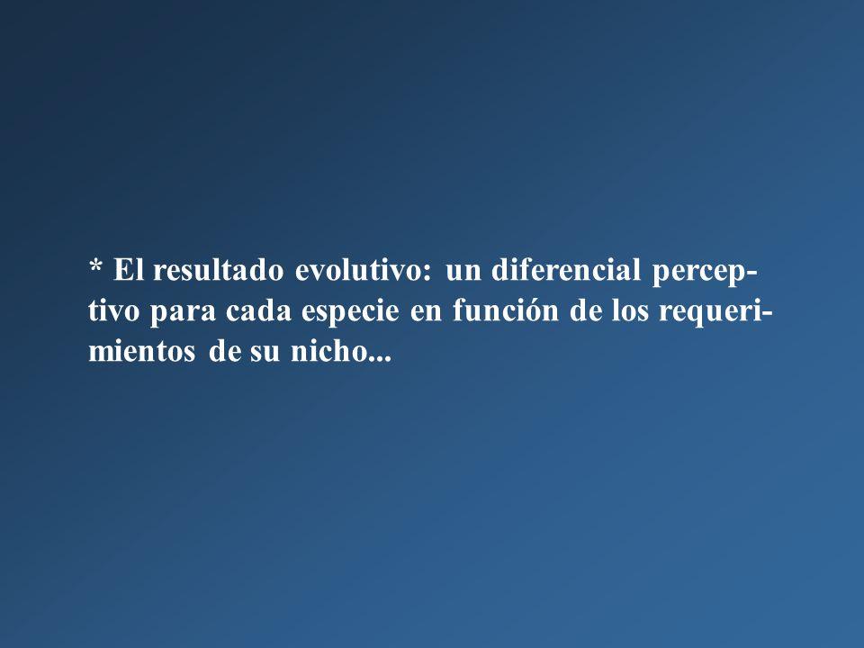 * El resultado evolutivo: un diferencial percep-tivo para cada especie en función de los requeri-mientos de su nicho...