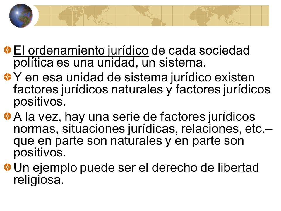 El ordenamiento jurídico de cada sociedad política es una unidad, un sistema.