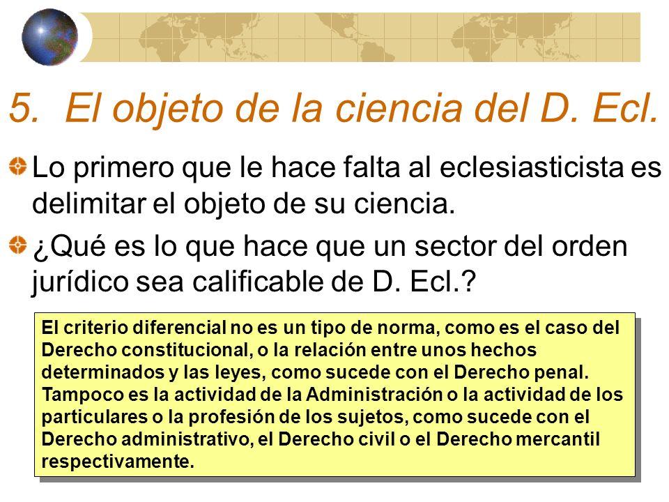 5. El objeto de la ciencia del D. Ecl.