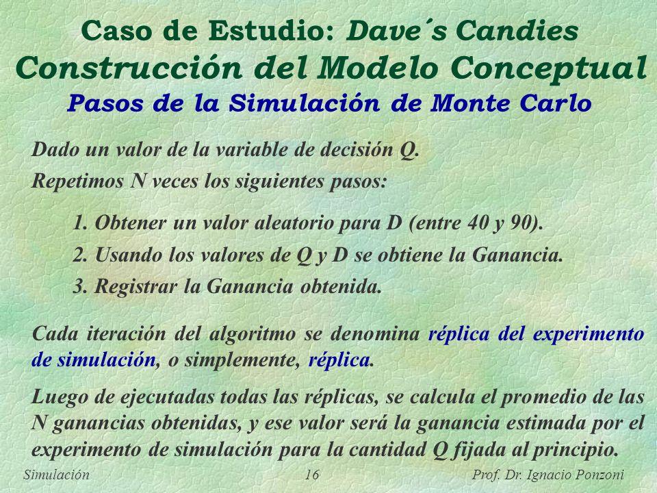 Caso de Estudio: Dave´s Candies Construcción del Modelo Conceptual Pasos de la Simulación de Monte Carlo