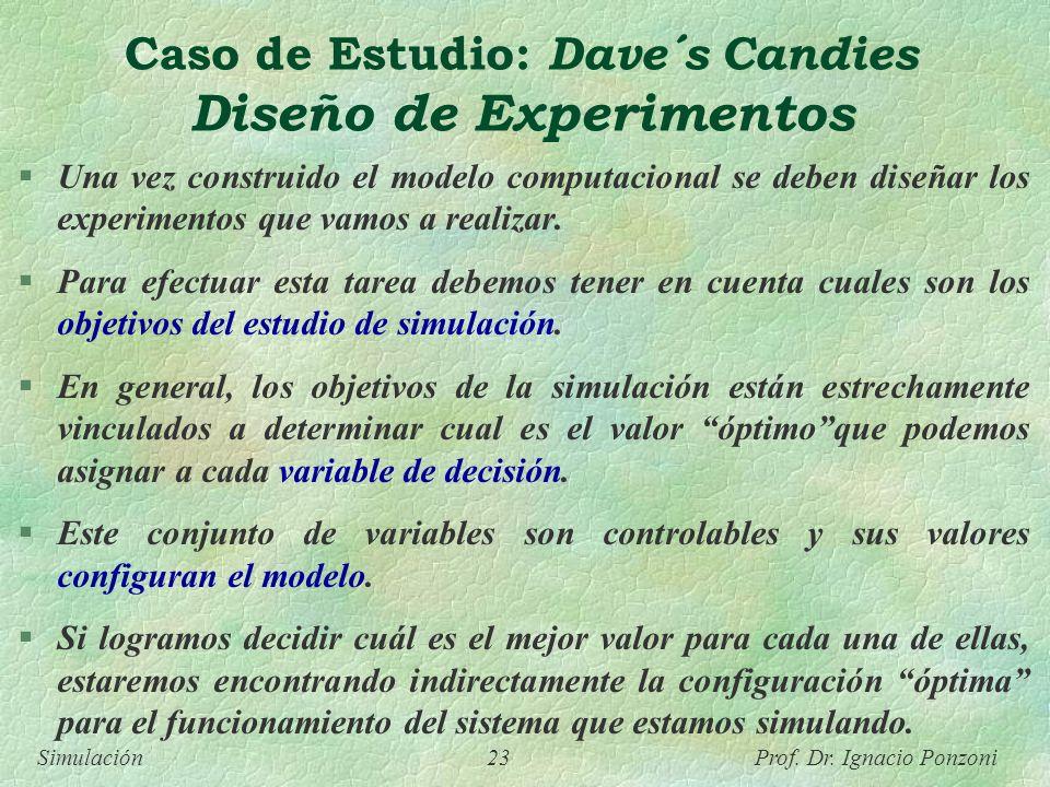 Caso de Estudio: Dave´s Candies Diseño de Experimentos