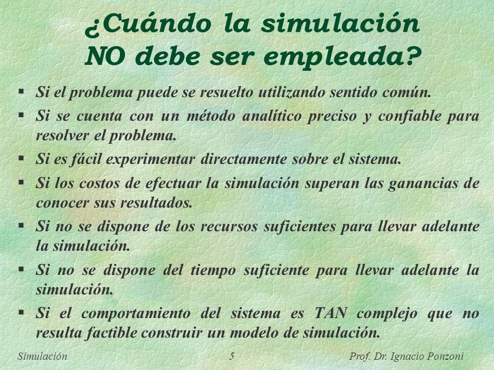 ¿Cuándo la simulación NO debe ser empleada