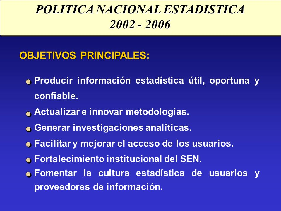 POLITICA NACIONAL ESTADISTICA