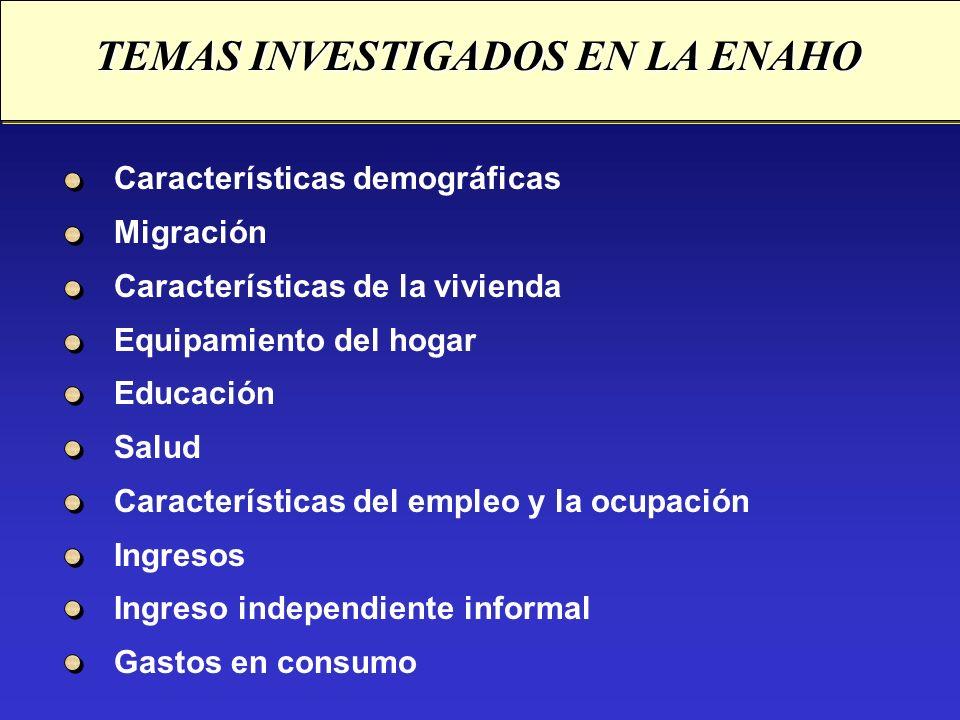 TEMAS INVESTIGADOS EN LA ENAHO