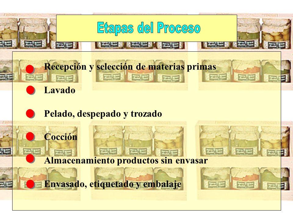Etapas del Proceso Recepción y selección de materias primas. Lavado. Pelado, despepado y trozado.