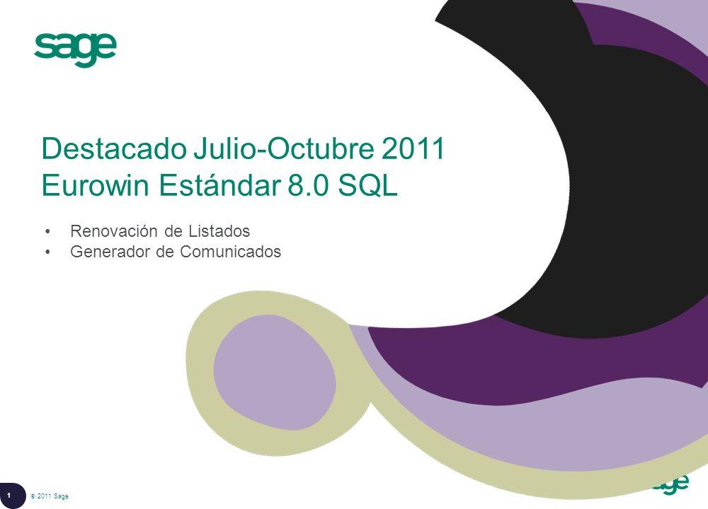 Destacado Julio-Octubre 2011 Eurowin Estándar 8.0 SQL