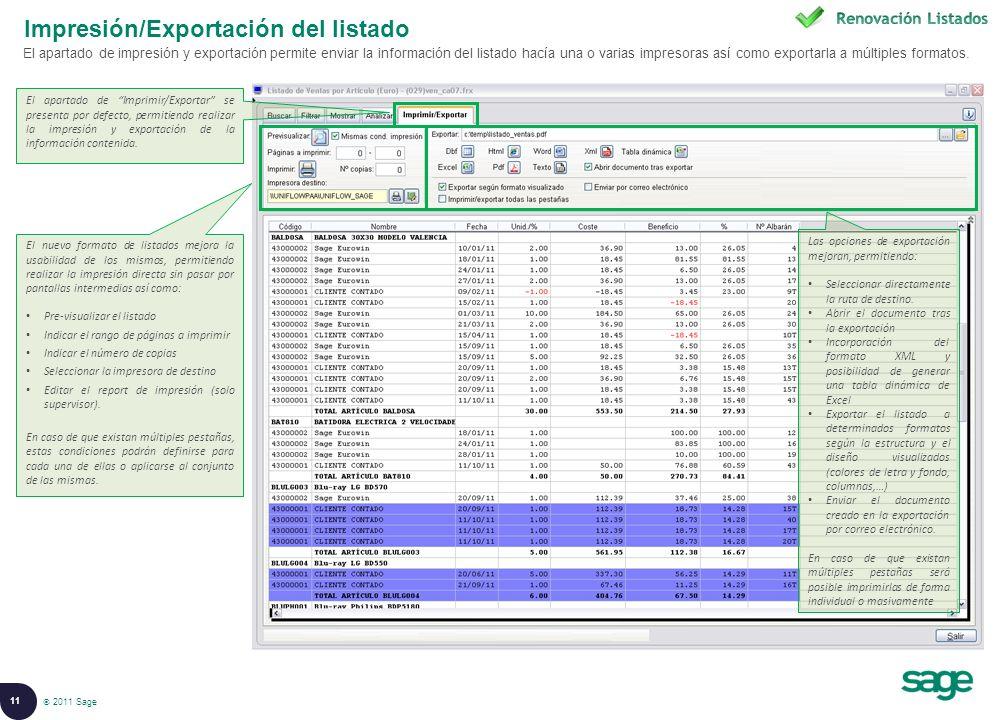 Impresión/Exportación del listado