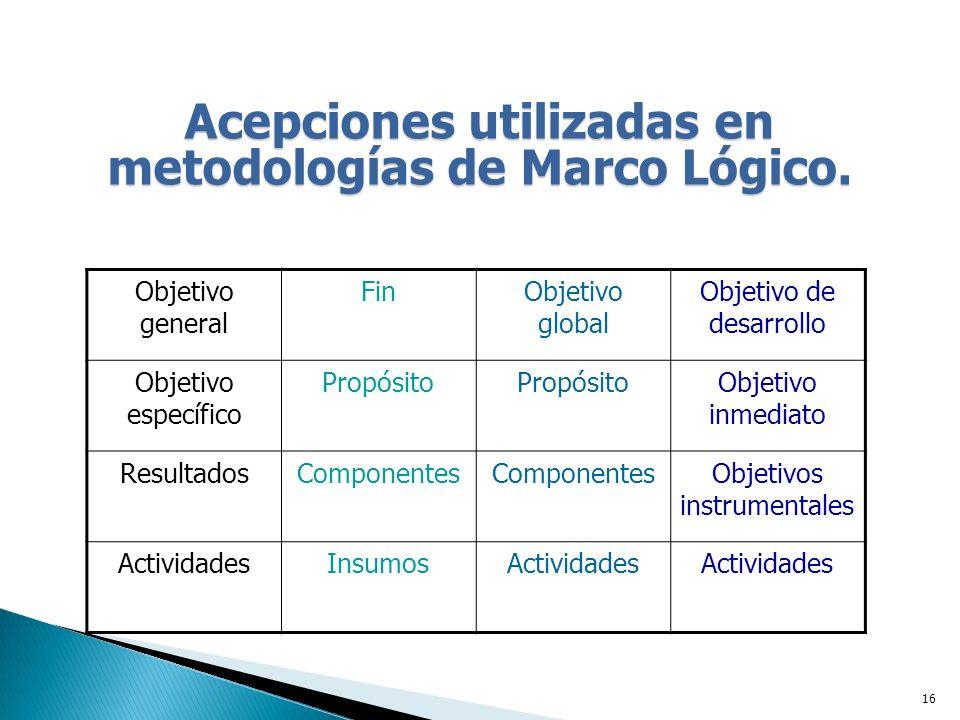Acepciones utilizadas en metodologías de Marco Lógico.