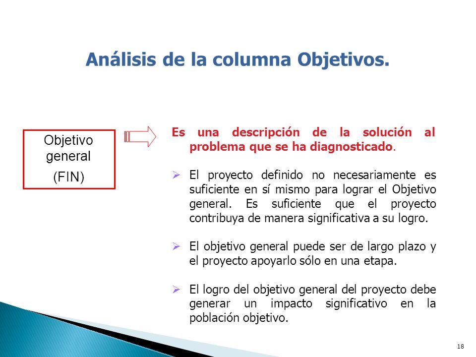Análisis de la columna Objetivos.