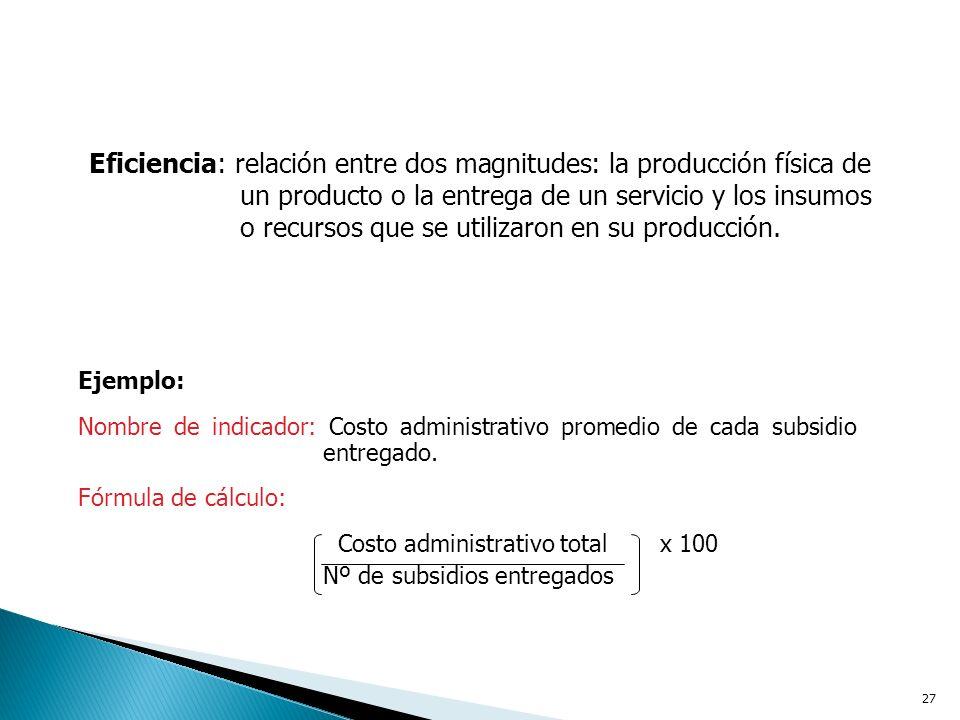 Eficiencia: relación entre dos magnitudes: la producción física de un producto o la entrega de un servicio y los insumos o recursos que se utilizaron en su producción.