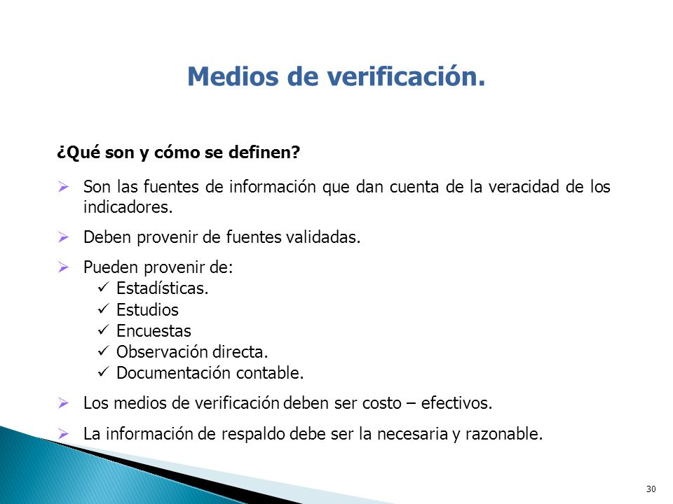 Medios de verificación.