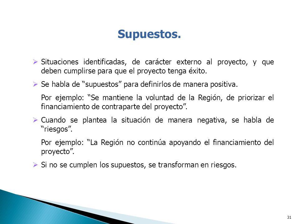Supuestos. Situaciones identificadas, de carácter externo al proyecto, y que deben cumplirse para que el proyecto tenga éxito.