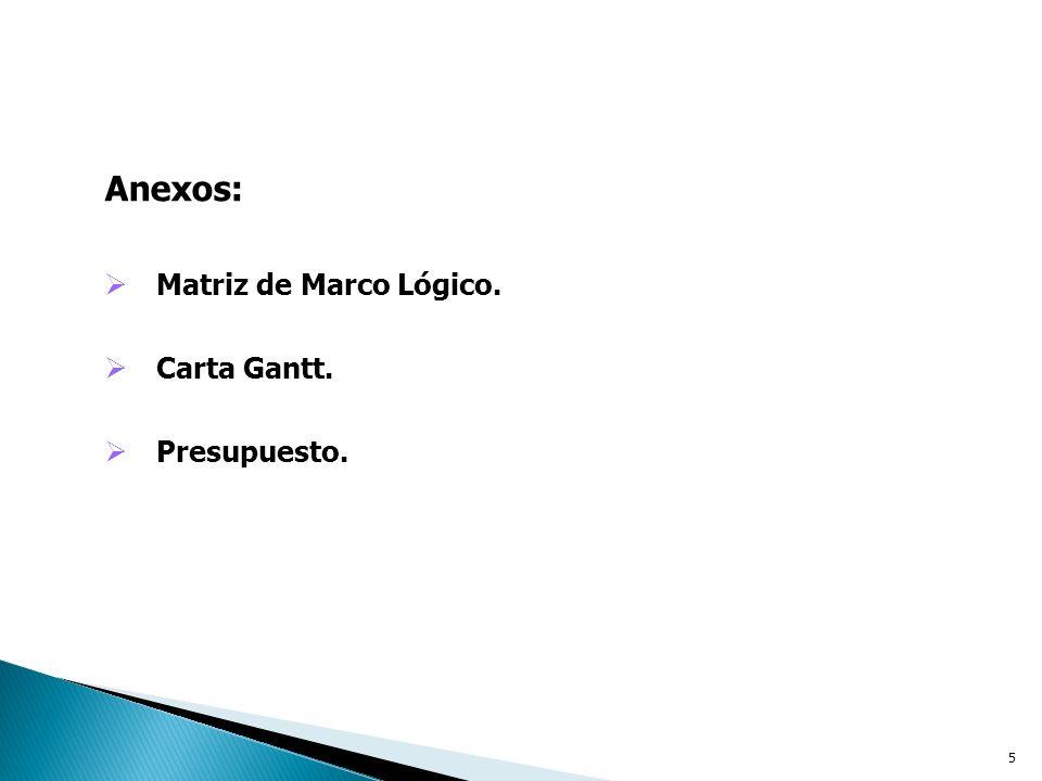 Anexos: Matriz de Marco Lógico. Carta Gantt. Presupuesto.