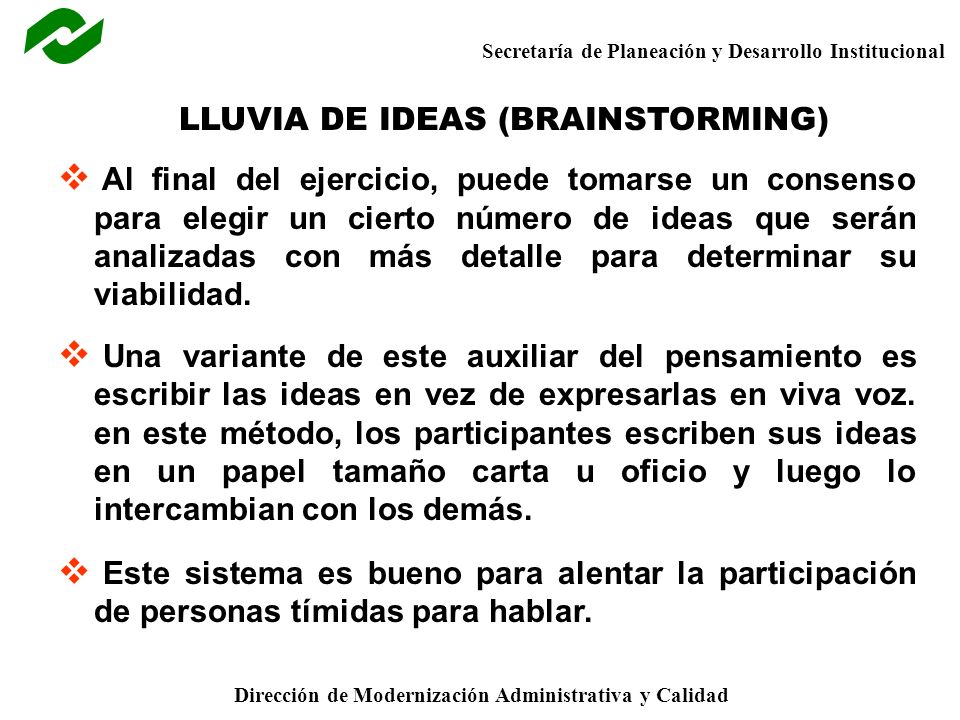LLUVIA DE IDEAS (BRAINSTORMING)