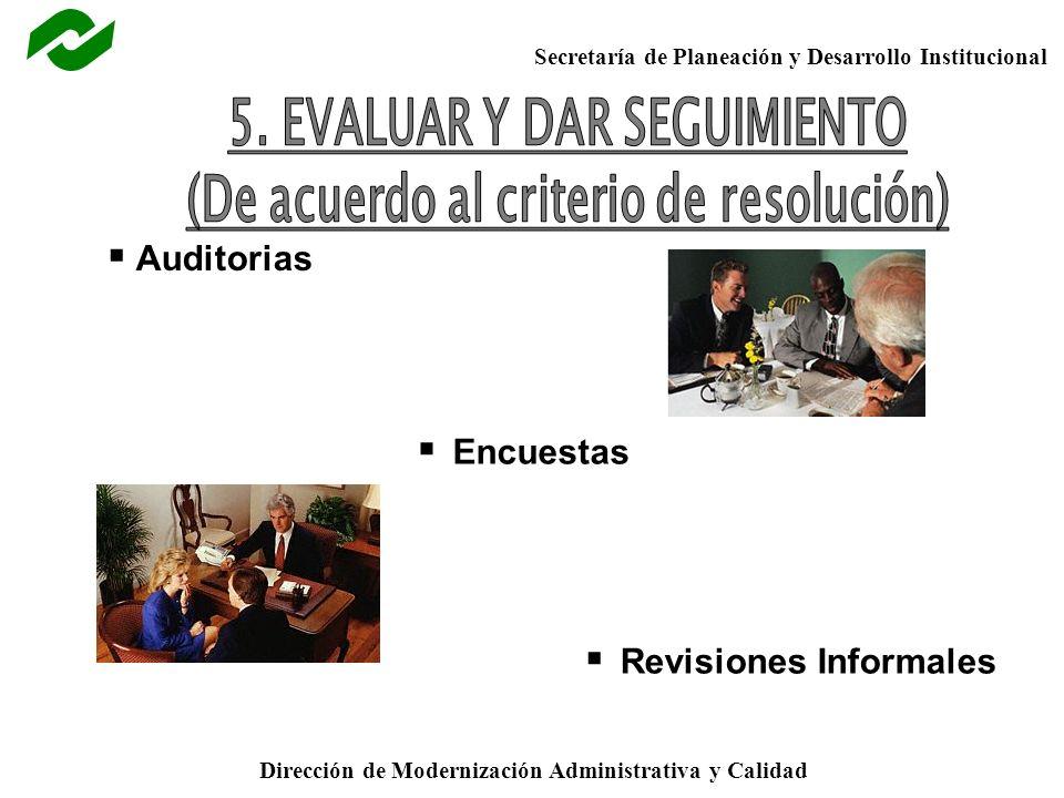 5. EVALUAR Y DAR SEGUIMIENTO (De acuerdo al criterio de resolución)