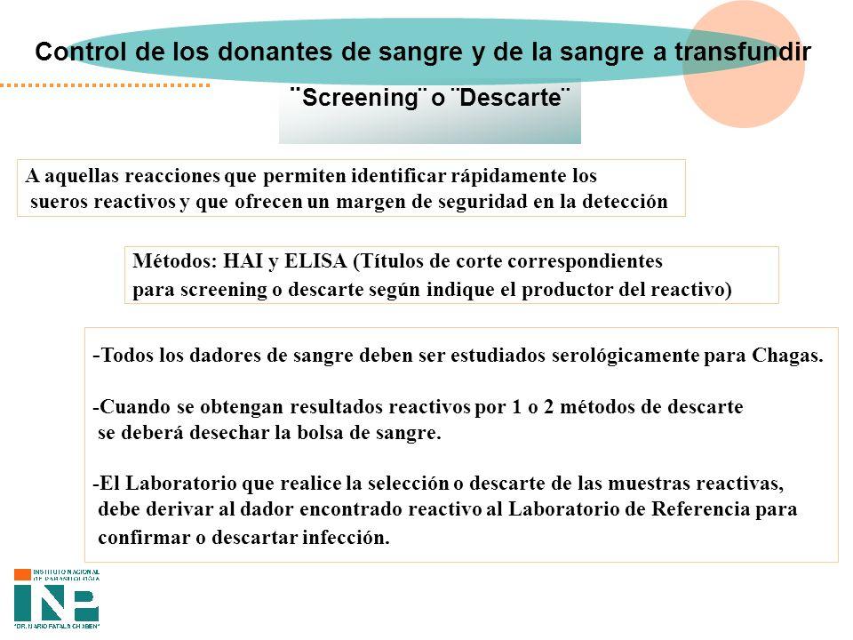 Control de los donantes de sangre y de la sangre a transfundir