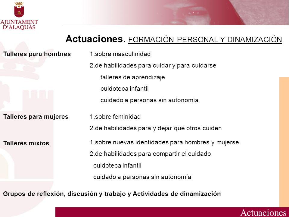 Actuaciones. FORMACIÓN PERSONAL Y DINAMIZACIÓN