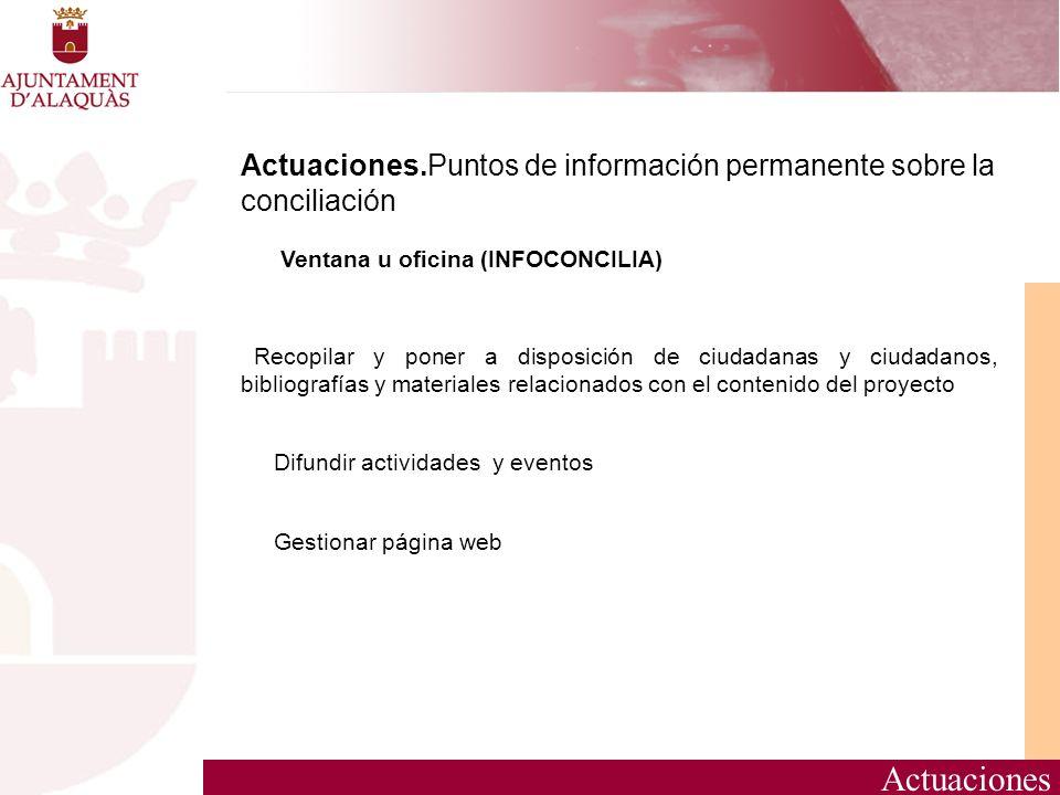 Actuaciones.Puntos de información permanente sobre la conciliación