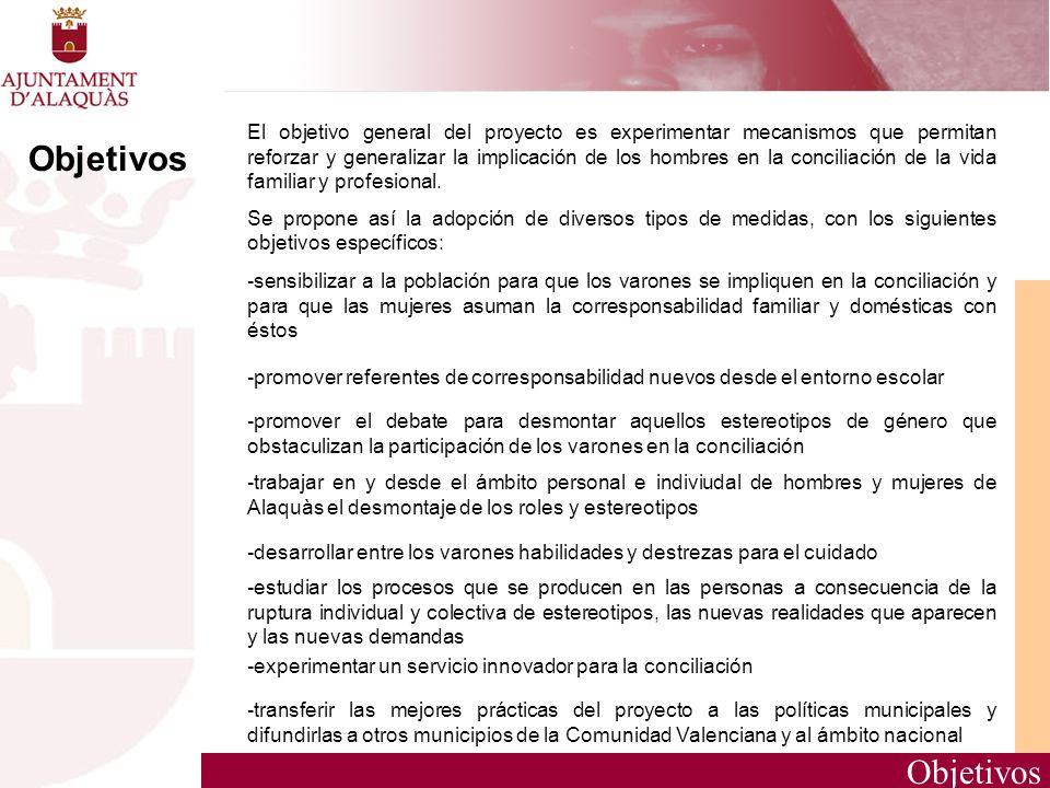 El objetivo general del proyecto es experimentar mecanismos que permitan reforzar y generalizar la implicación de los hombres en la conciliación de la vida familiar y profesional.