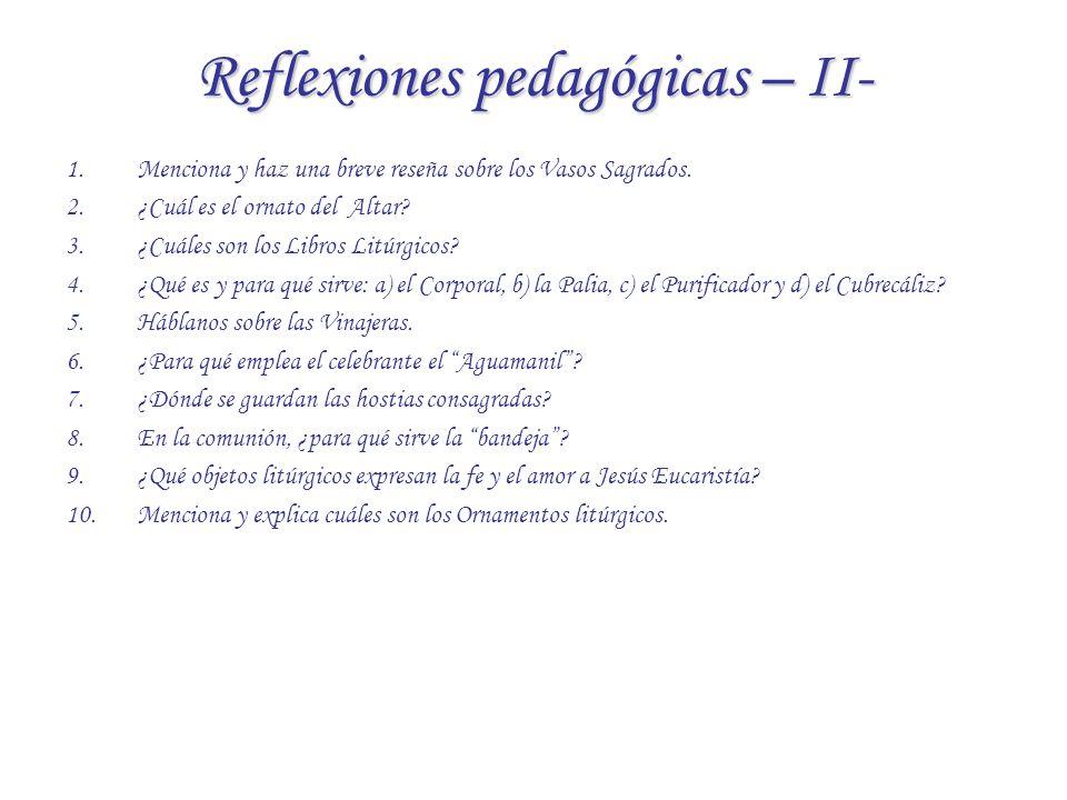 Reflexiones pedagógicas – II-
