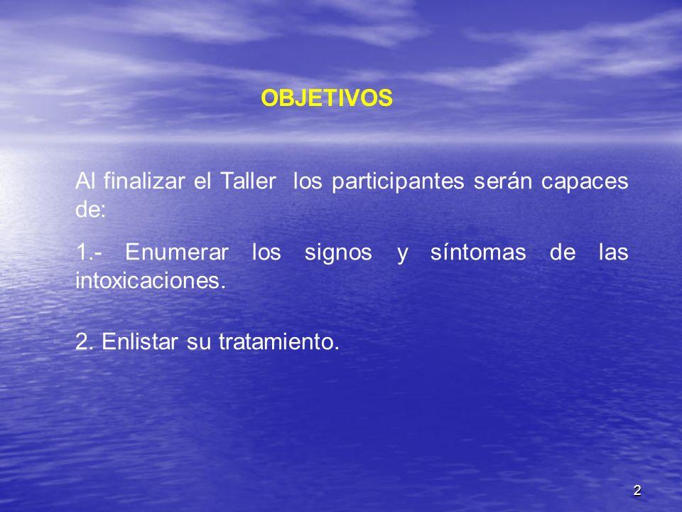 OBJETIVOS Al finalizar el Taller los participantes serán capaces de: 1.- Enumerar los signos y síntomas de las intoxicaciones.