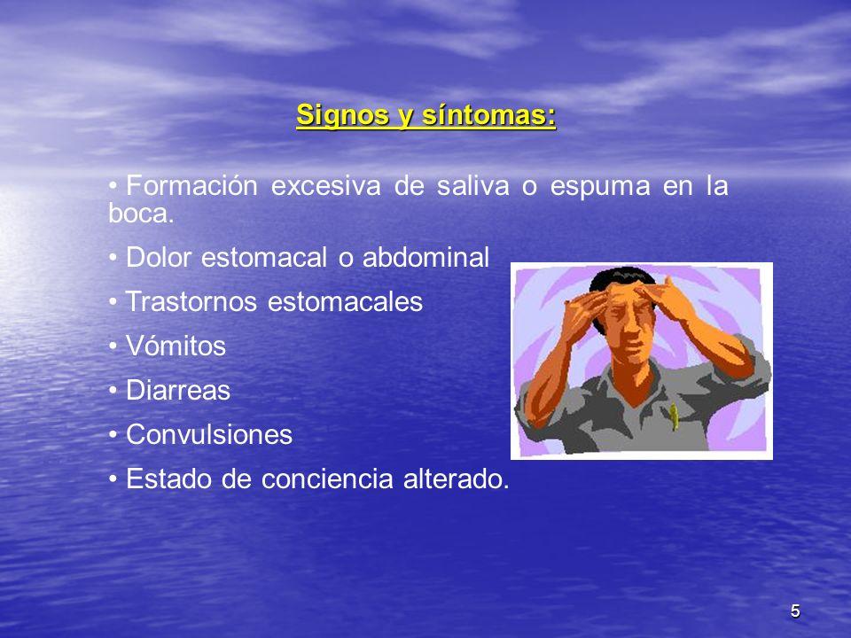 Signos y síntomas: Formación excesiva de saliva o espuma en la boca. Dolor estomacal o abdominal. Trastornos estomacales.