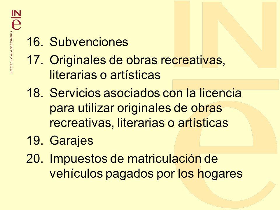 16. Subvenciones 17. Originales de obras recreativas, literarias o artísticas.