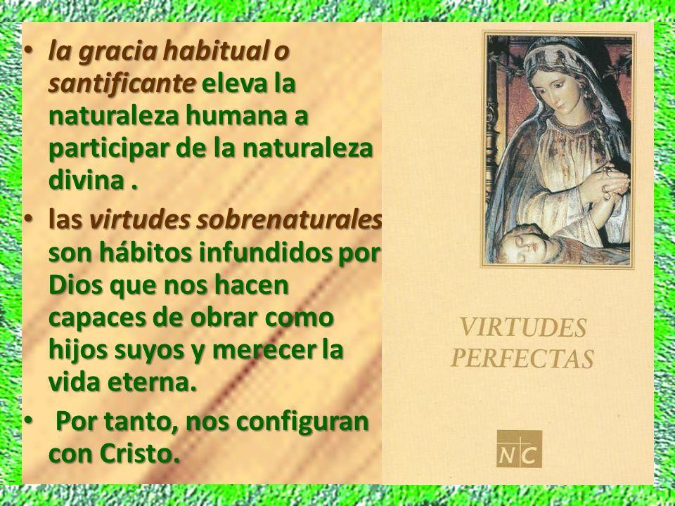 la gracia habitual o santificante eleva la naturaleza humana a participar de la naturaleza divina .