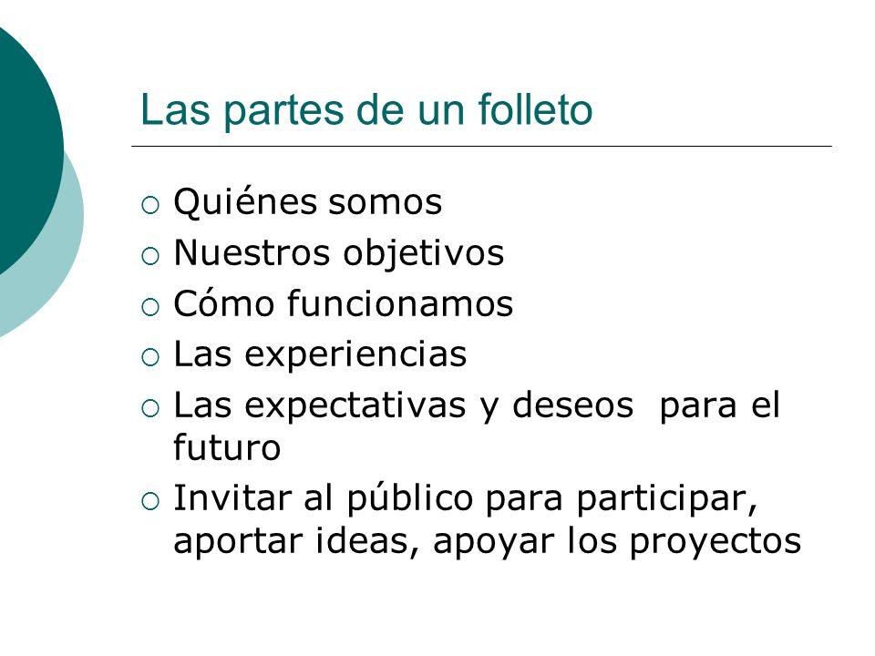 Las partes de un folleto