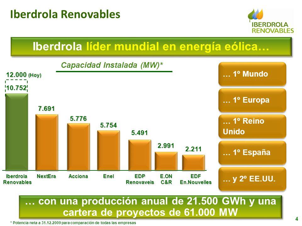 Iberdrola líder mundial en energía eólica… Capacidad Instalada (MW)*