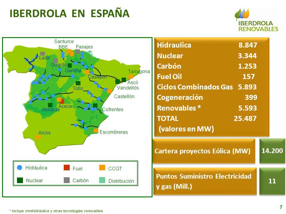 IBERDROLA EN ESPAÑA Hidraulica 8.847 Nuclear 3.344 Carbón 1.253