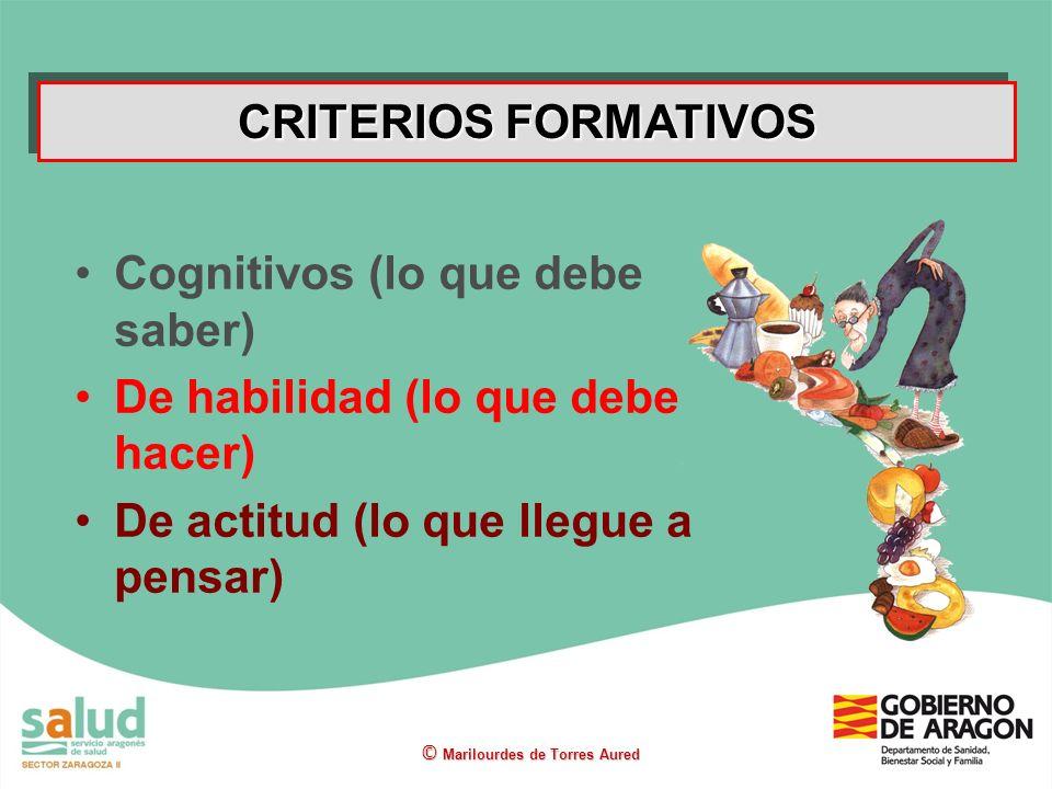 Cognitivos (lo que debe saber) De habilidad (lo que debe hacer)