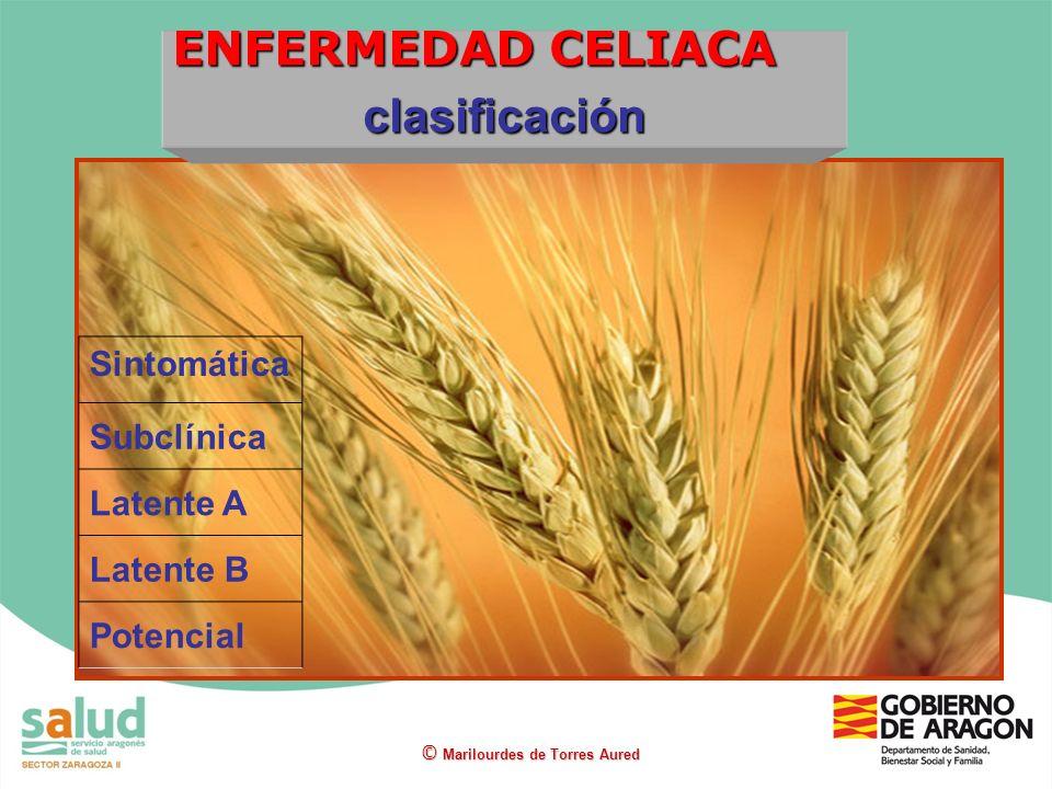 ENFERMEDAD CELIACA clasificación Sintomática Subclínica Latente A