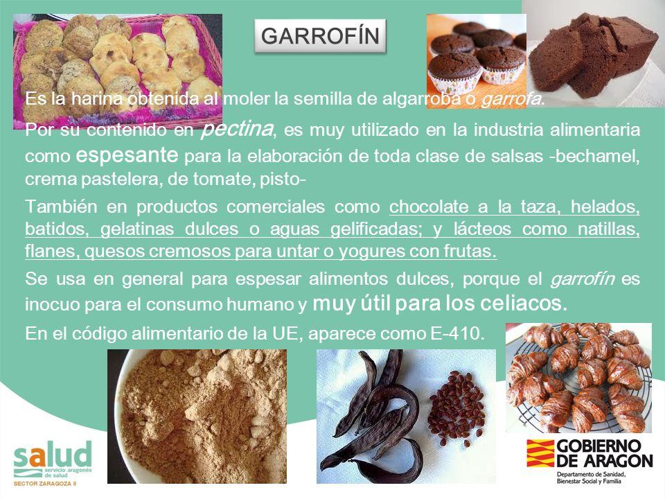 GARROFÍNEs la harina obtenida al moler la semilla de algarroba o garrofa.