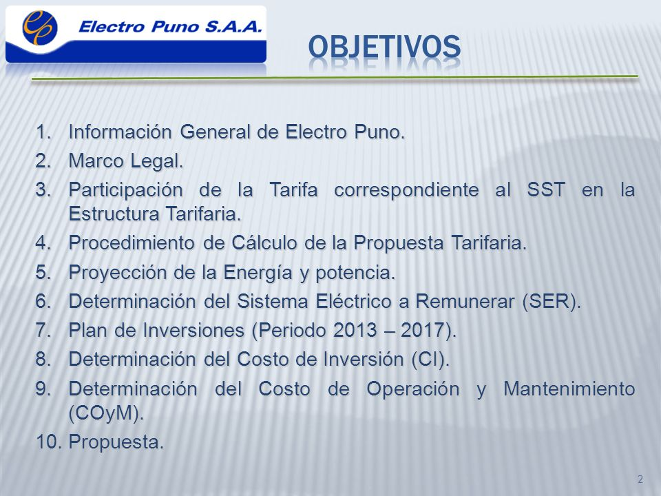 Objetivos Información General de Electro Puno. Marco Legal.
