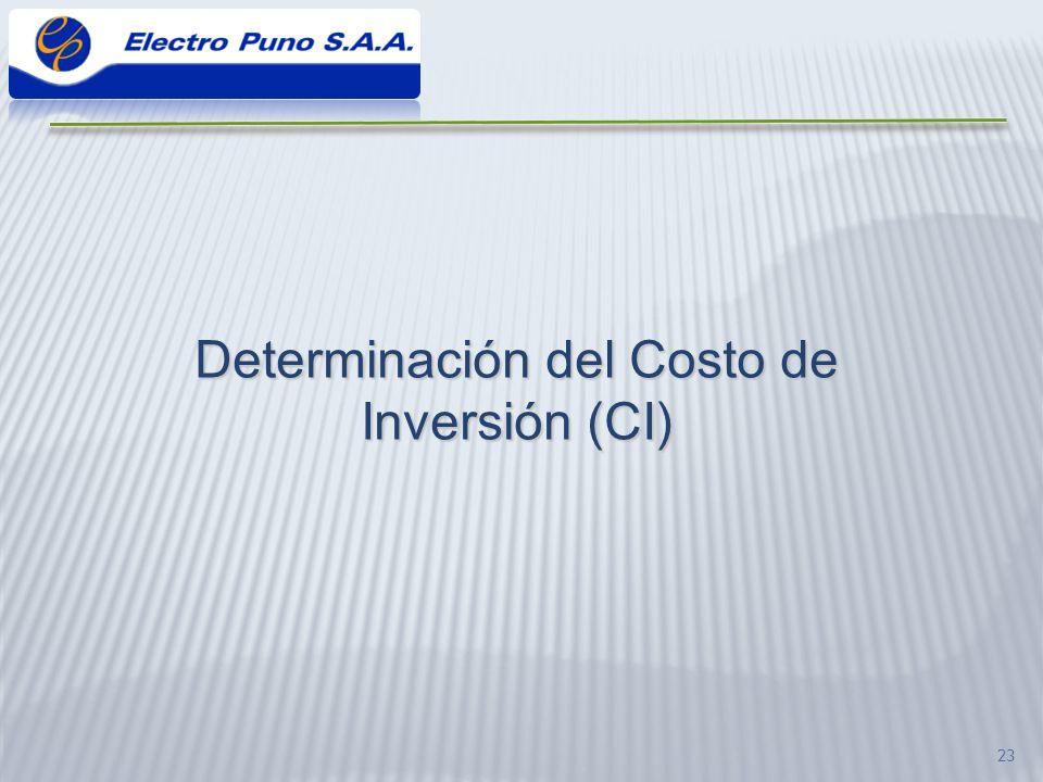 Determinación del Costo de Inversión (CI)