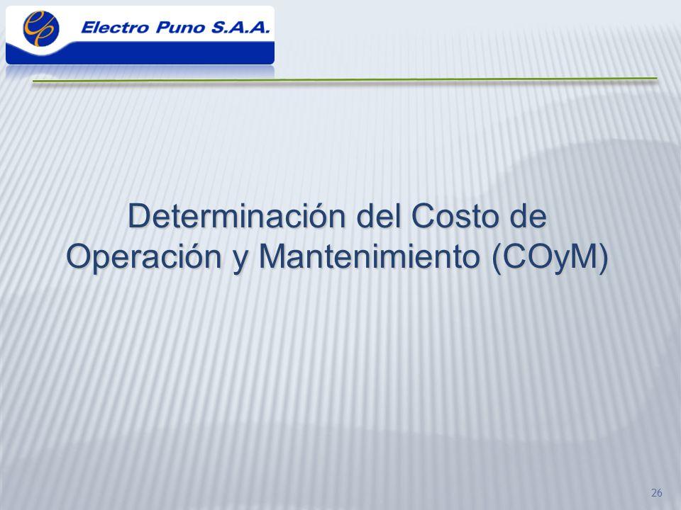Determinación del Costo de Operación y Mantenimiento (COyM)