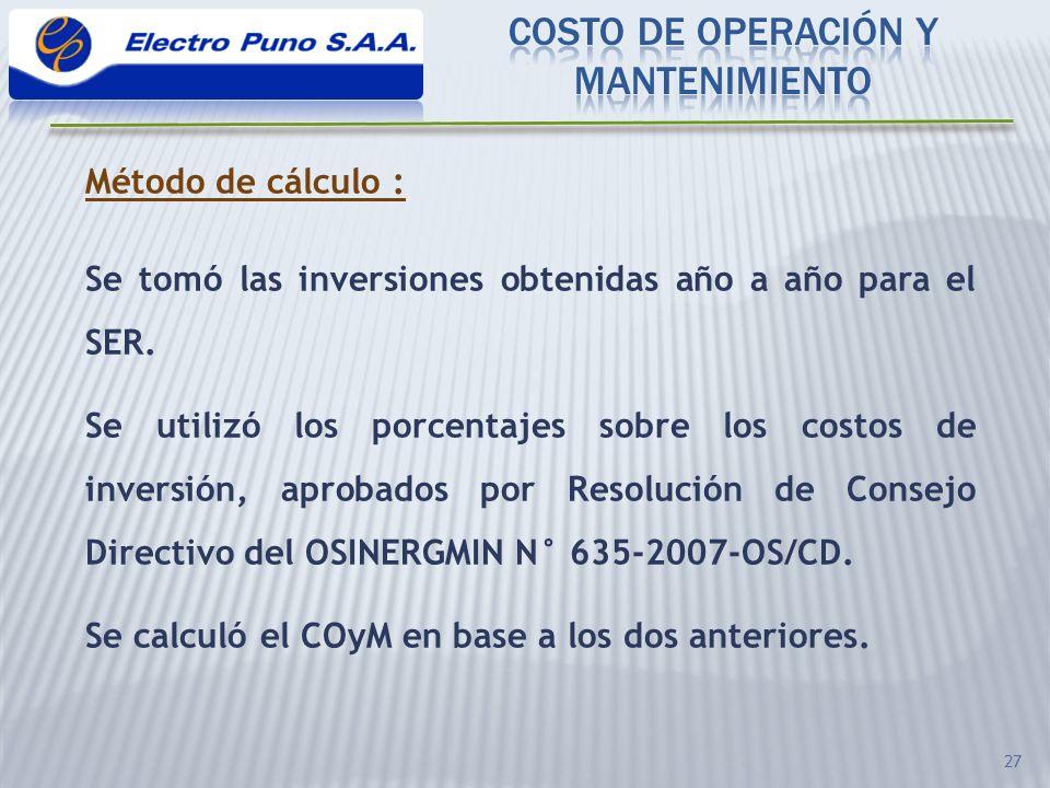 COSTO DE OPERACIÓN Y MANTENIMIENTO