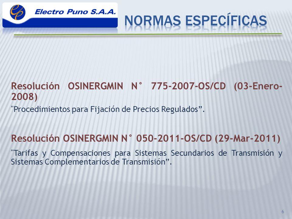 NORMAS ESPECÍFICAS Resolución OSINERGMIN N° 775-2007-OS/CD (03-Enero-2008) Procedimientos para Fijación de Precios Regulados .